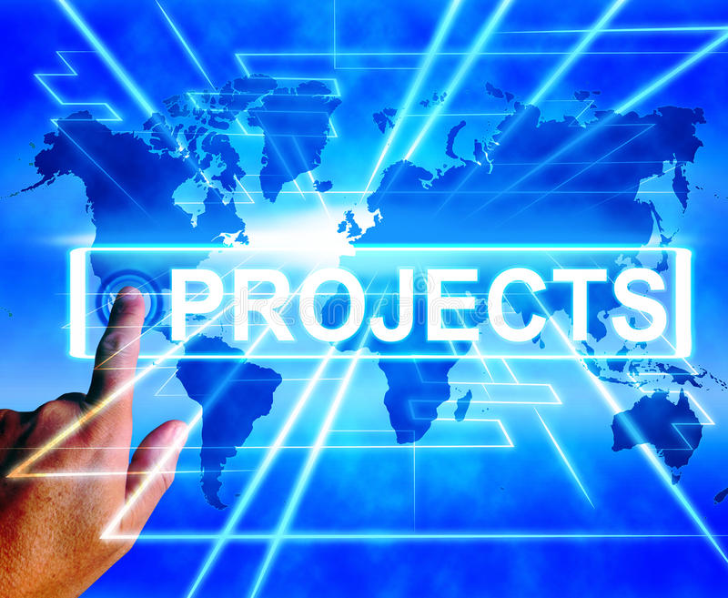 La mappa dei progetti visualizza universalmente o compito o attività di Internet illustrazione di stock