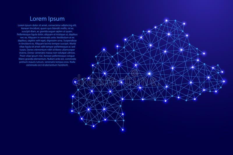 La mappa del Burkina Faso dalle linee blu poligonali, emettente luce stars l'illustrazione illustrazione vettoriale