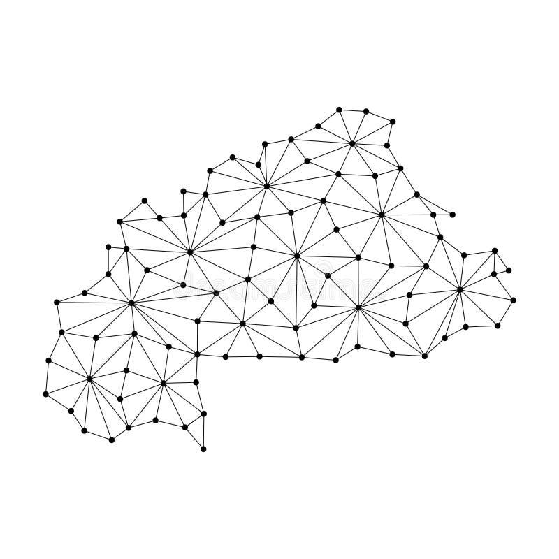 La mappa del Burkina Faso del mosaico poligonale allinea la rete, i raggi, illustrazione dei punti royalty illustrazione gratis