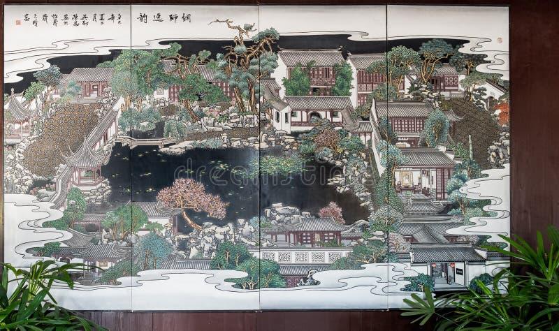 La mappa del Master delle reti fa il giardinaggio Wang Shi Yuan, Suzhou, Cina immagine stock