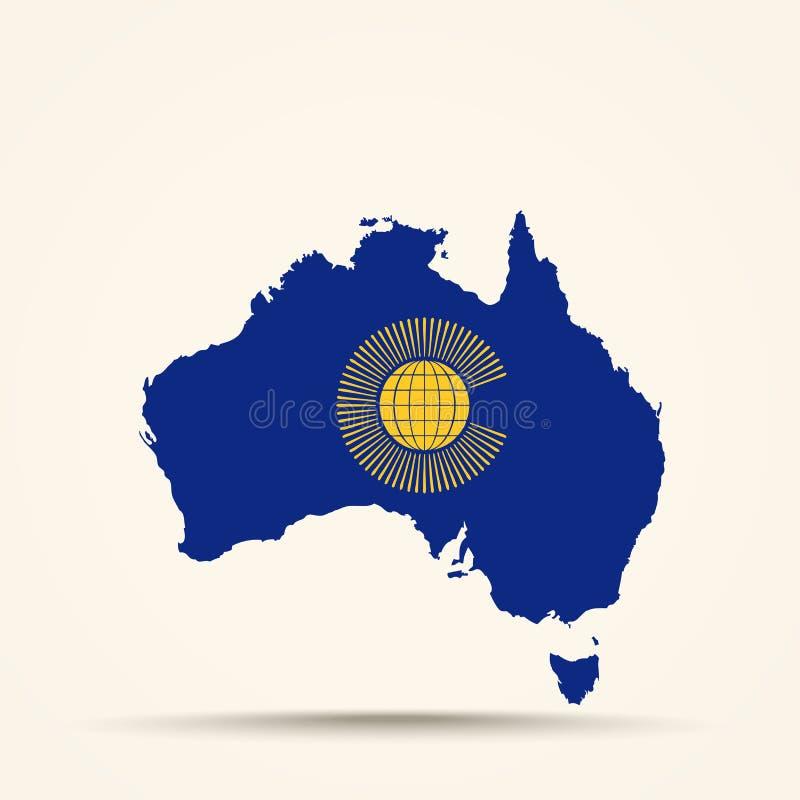 La mappa dell'Australia in commonwealth delle nazioni inbandiera i colori illustrazione di stock