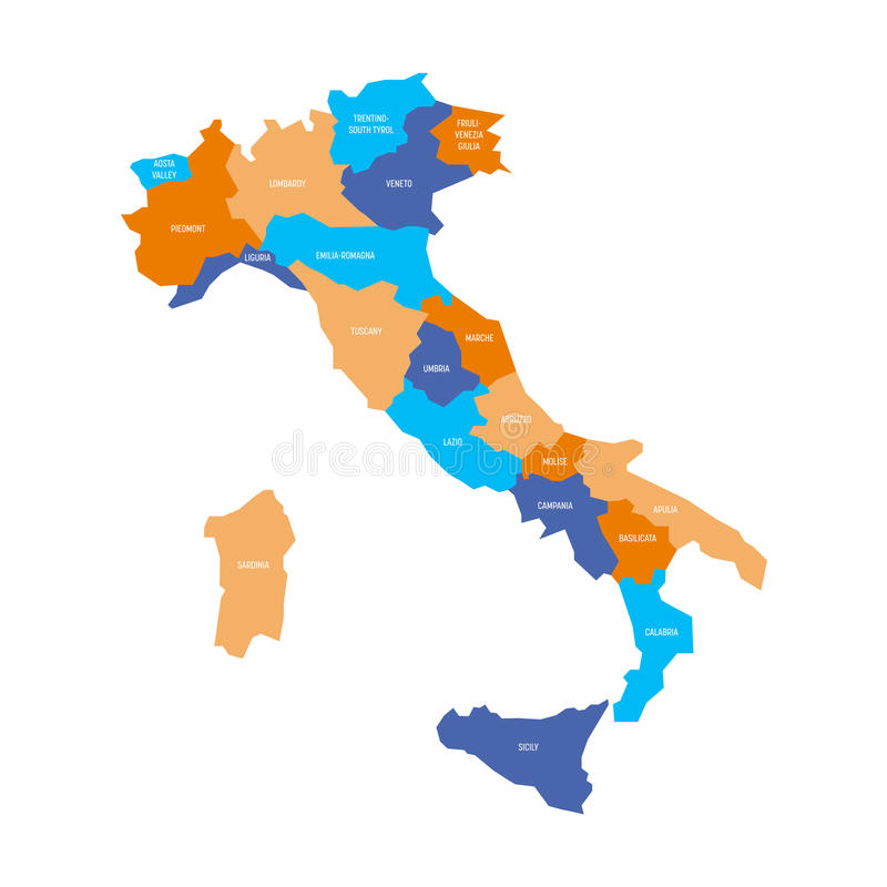 Cartina Dell Italia Divisa Per Regioni.La Mappa Dell Italia Si E Divisa In 20 Regioni