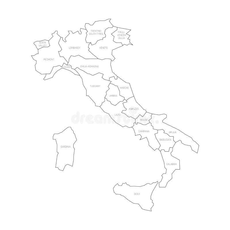 Cartina Italia Regioni Bianco E Nero.La Mappa Dell Italia Si E Divisa In 20 Regioni Amministrative Terra Bianca Confini Neri Ed Etichette Del Nero Vettore Piano Semp Illustrazione Vettoriale Illustrazione Di Isolato Zona 92160974