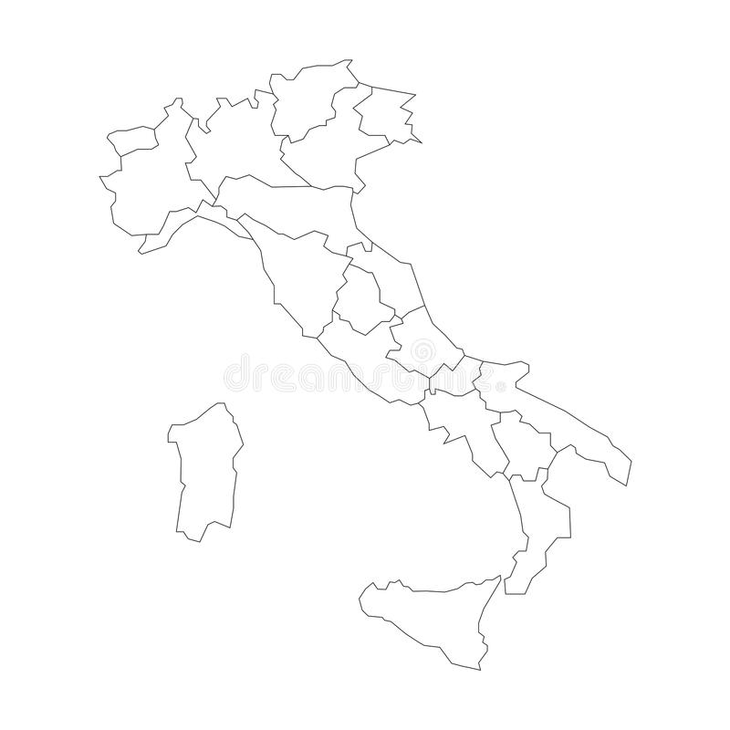 Cartina Politica Italia Bianca.La Mappa Dell Italia Si E Divisa In 20 Regioni Amministrative Terra Bianca E Confini Neri Del Profilo Vettore Piano Semplice Illustrazione Vettoriale Illustrazione Di Zona Roma 92517368