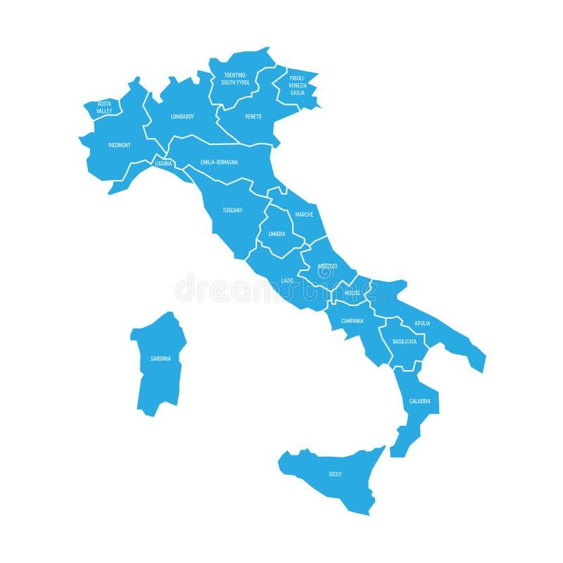 La mappa dell'Italia si è divisa in 20 regioni amministrative Terra blu, confini bianchi ed etichette di bianco Vettore piano sem illustrazione vettoriale