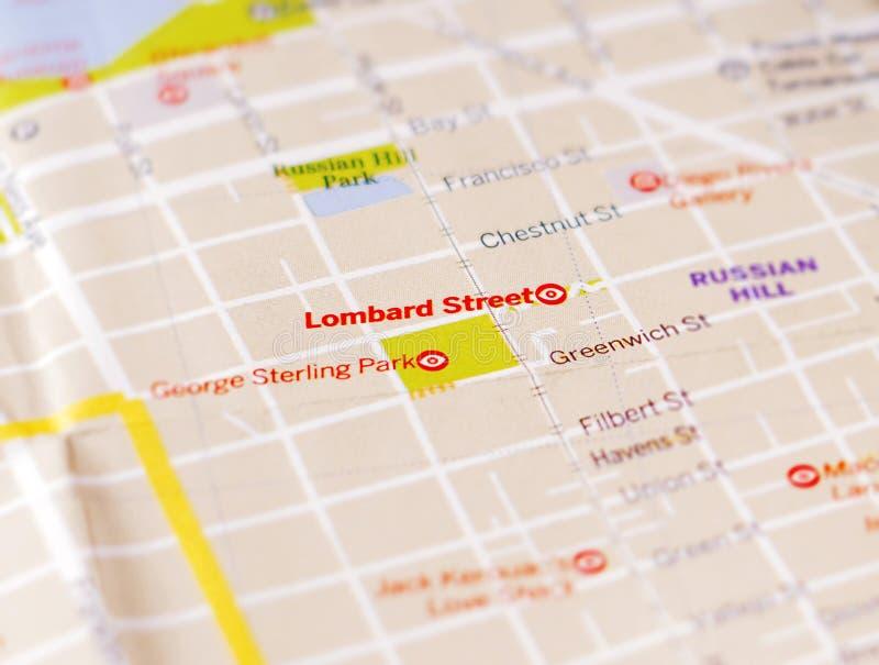 La mappa della città di San Francisco ha messo a fuoco sulla via lombarda fotografie stock