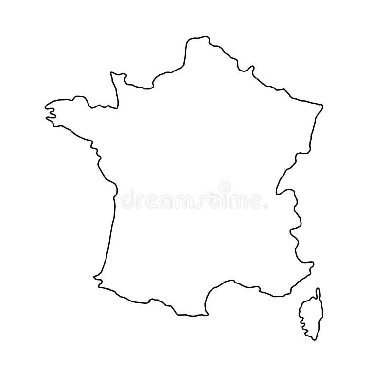 Cartina Della Francia In Bianco E Nero.La Mappa Della Francia Dell Illustrazione Nera Di Vettore Di