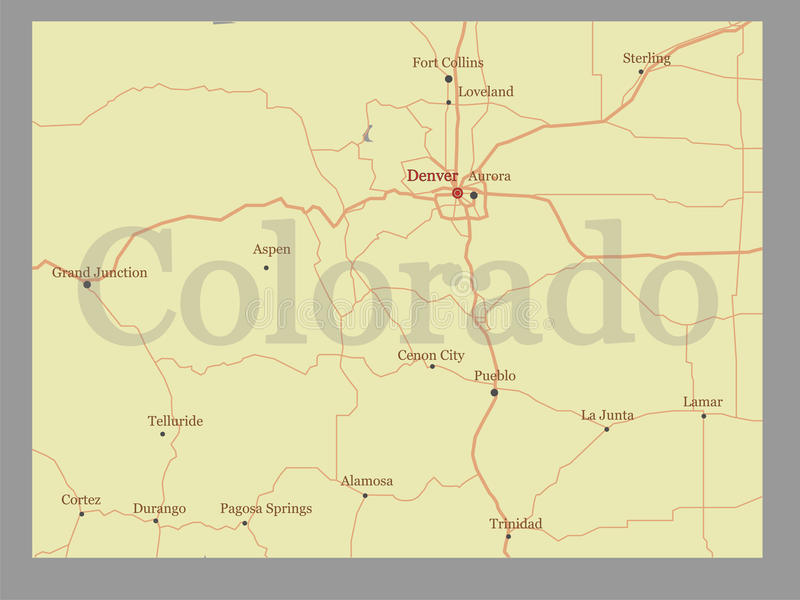 La mappa dello stato di vettore di Colorado con assistenza della Comunità ed attiva royalty illustrazione gratis