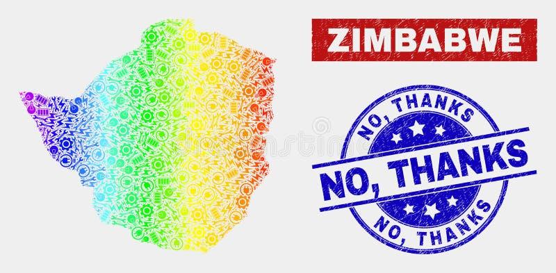 La mappa dello Zimbabwe della costruzione di spettro ed affliggere no, ringraziamenti sigilla illustrazione di stock
