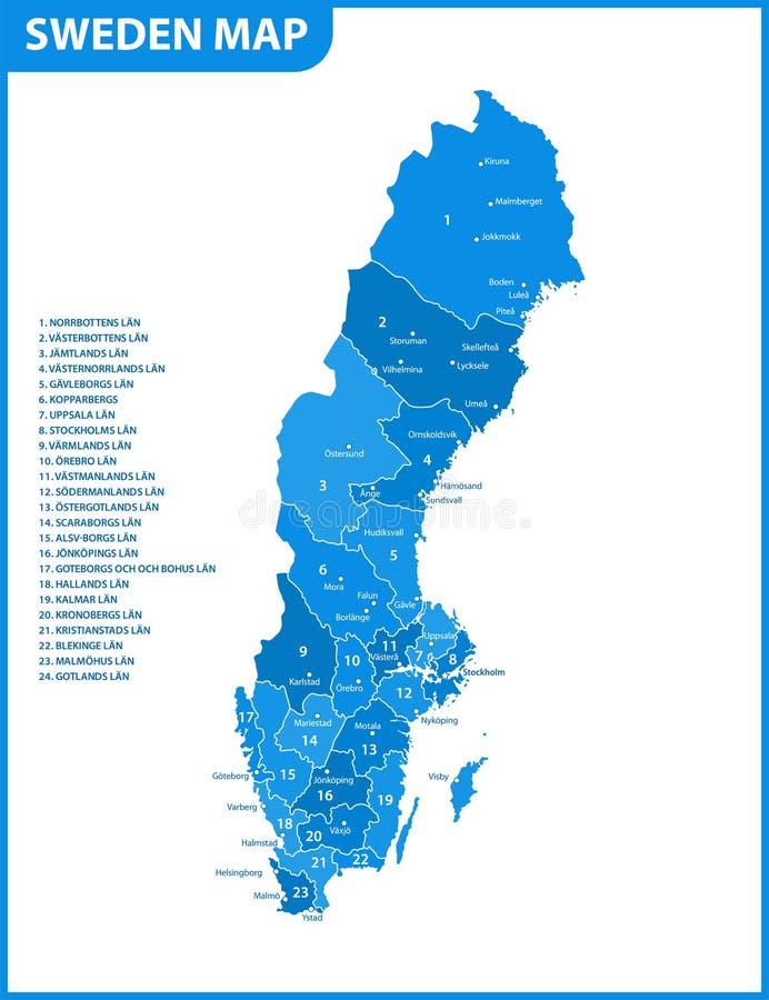 La mappa dettagliata della Svezia con le regioni o stati e città, capitale Divisione amministrativa royalty illustrazione gratis