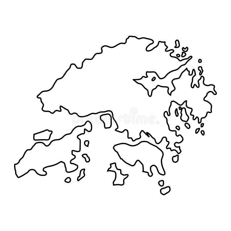 La mappa di Hong Kong del contorno nero curva l'illustrazione illustrazione vettoriale