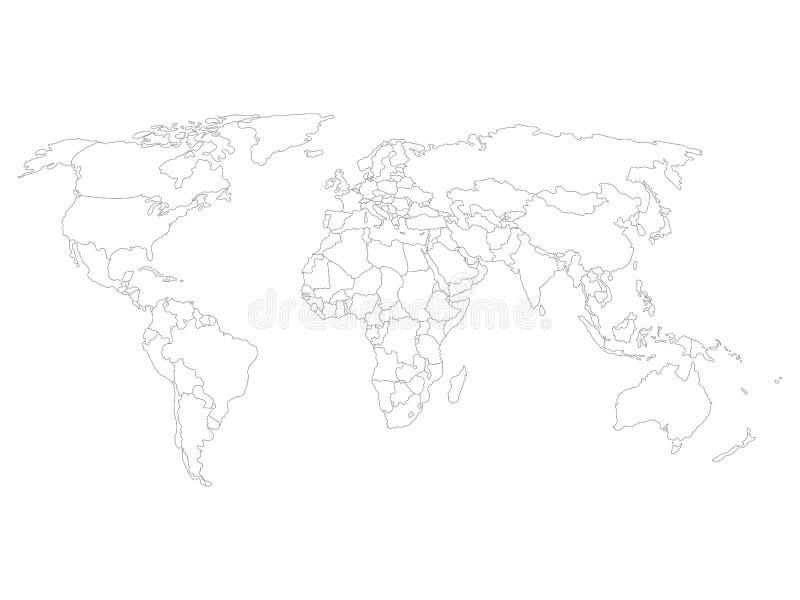 La mappa di mondo in bianco con paese liscio nero sottile rasenta il fondo bianco illustrazione vettoriale