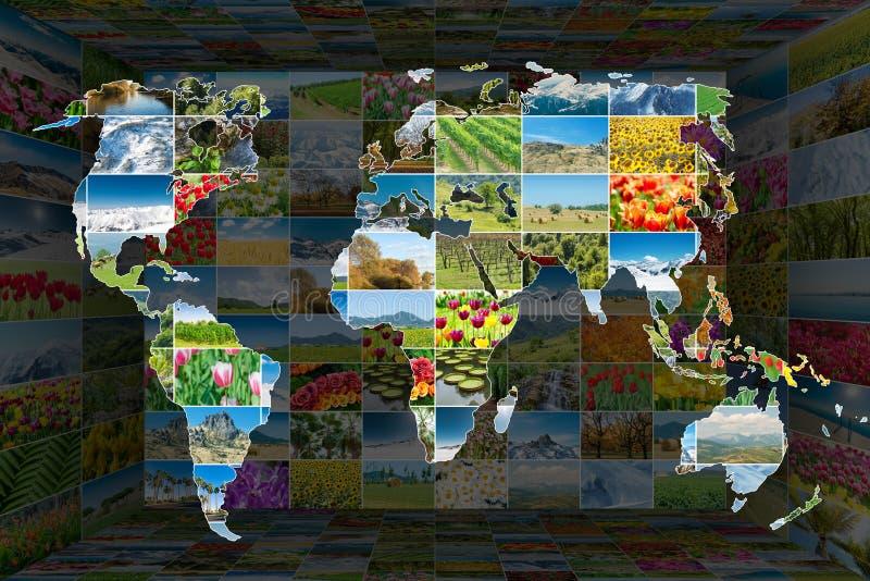La mappa di mondo con molte foto della natura fotografie stock libere da diritti