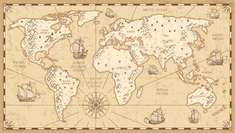 La mappa di mondo fisica d'annata con i fiumi e le montagne vector l'illustrazione illustrazione vettoriale