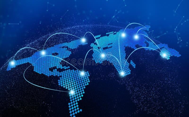 La mappa di mondo, il collegamento allinea nel concetto della tecnologia, 3d rende di illustrazione di stock