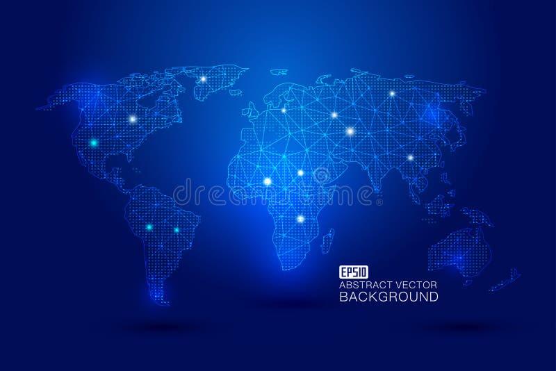 La mappa di mondo si è formata dalla linea punteggiata i collegamenti, la globalizzazione, l'internazionalizzazione, concetto di  royalty illustrazione gratis