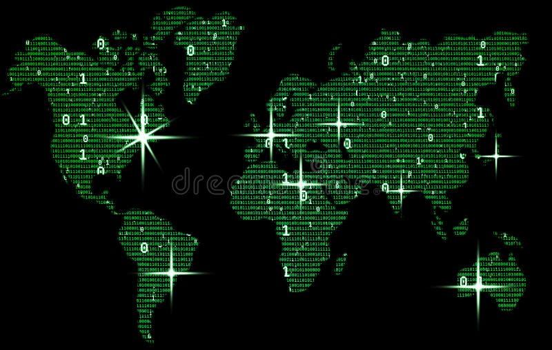 La mappa di mondo verde consiste del codice binario, concetto del mondo digitale illustrazione vettoriale