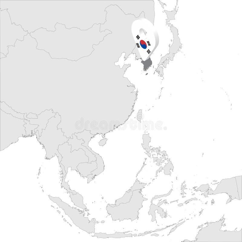 La mappa di posizione della Repubblica Coreana sulla mappa Asia perno di posizione dell'indicatore della mappa della bandiera di  illustrazione di stock