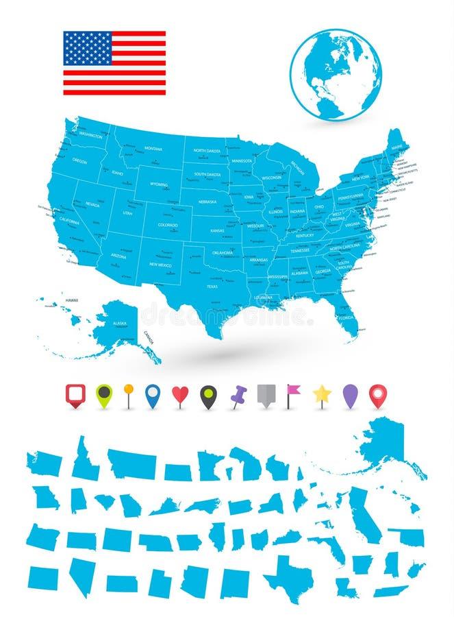 La mappa di U.S.A. con è stati e puntatori piani della mappa royalty illustrazione gratis