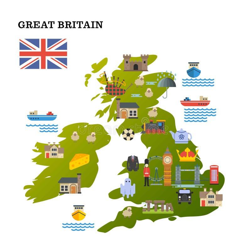 La mappa di viaggio del Regno Unito con le icone del punto di riferimento vector l'illustrazione illustrazione vettoriale