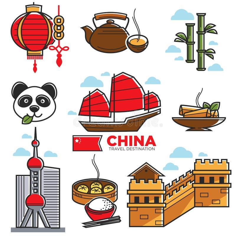 La mappa di viaggio della Cina con i sightseeings nazionali vector il manifesto illustrazione vettoriale