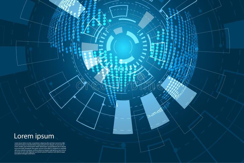 La mappa ed il futuro di mondo astratta di concetto della tecnologia circondano Interfac illustrazione di stock