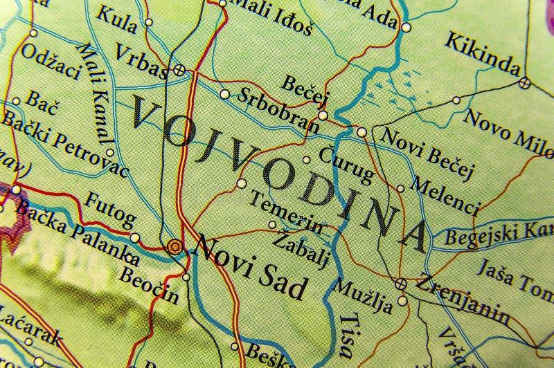 La mappa geografica di paese europeo Serbia e vojvodina dichiarano l'autonomia immagine stock
