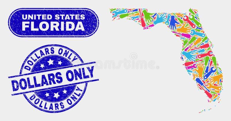 La mappa industriale dello stato di Florida ed ha graffiato le filigrane dei dollari soltanto illustrazione vettoriale