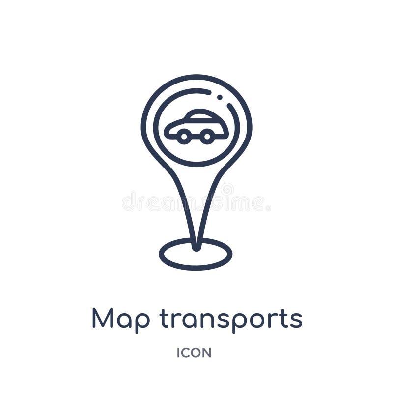 La mappa lineare trasporta l'icona dalla raccolta del profilo di posizioni e delle mappe Linea sottile icona di trasporti della m illustrazione vettoriale