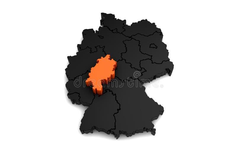 La mappa nera della Germania, con la regione di Assia, ha evidenziato in arancia illustrazione vettoriale