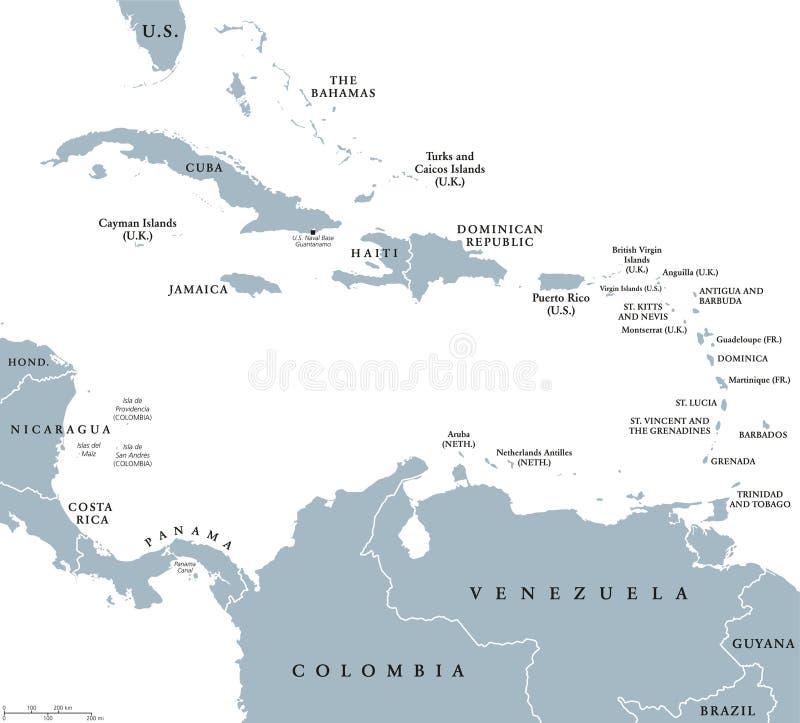 La mappa politica dei paesi dei Caraibi illustrazione vettoriale