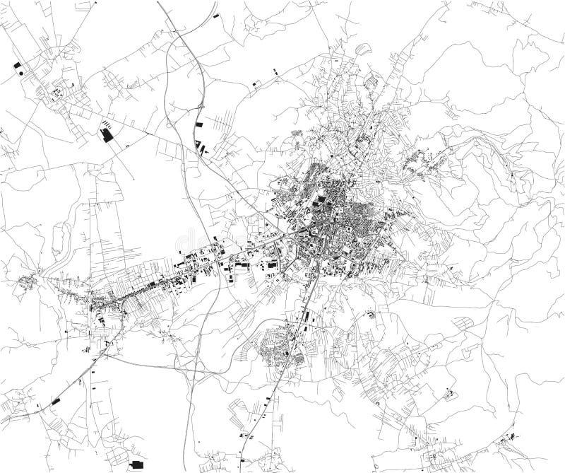 La mappa satellite, Pristina, è la capitale del Kosovo royalty illustrazione gratis