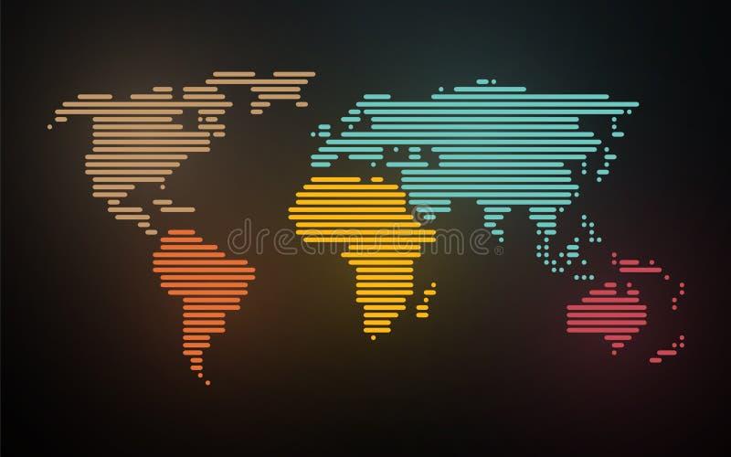 La mappa semplice del mondo ha creato le linee illustrazione di stock