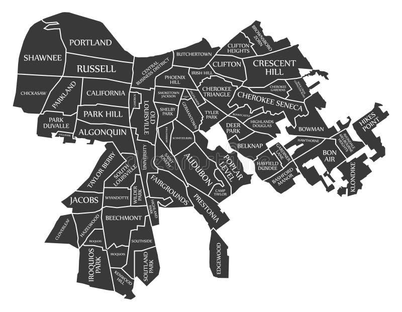La mappa U.S.A. della città di Louisville Kentucky ha identificato l'illustrazione nera illustrazione di stock