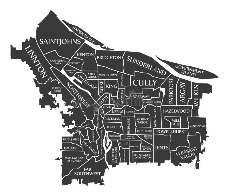 La mappa U.S.A. della città di Portland Oregon ha identificato l'illustrazione nera illustrazione di stock