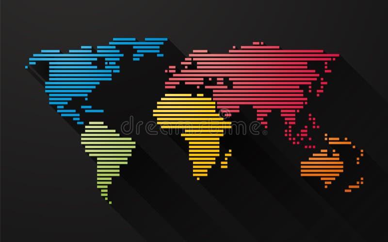 La mappa variopinta semplice del mondo ha creato dalle linee illustrazione vettoriale