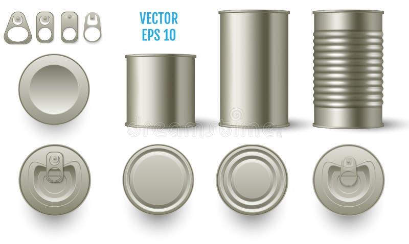 La maqueta cilíndrica realista de la lata conserva diversa altura realista libre illustration