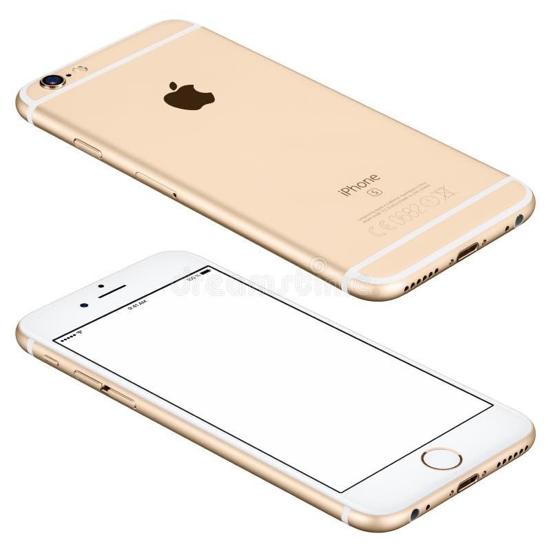 La maqueta del iPhone 6s de Apple del oro miente en superficie con la pantalla blanca fotografía de archivo libre de regalías