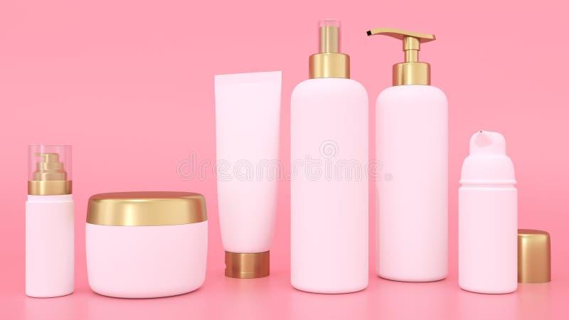 la maqueta ealistic de la representación 3D para los envases cosméticos para bate y las botellas tónicas Botella y tubo, crema tó ilustración del vector