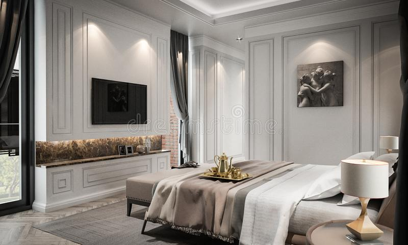 La maqueta interior del estudio del dormitorio, estilo clásico moderno, 3D rinde libre illustration