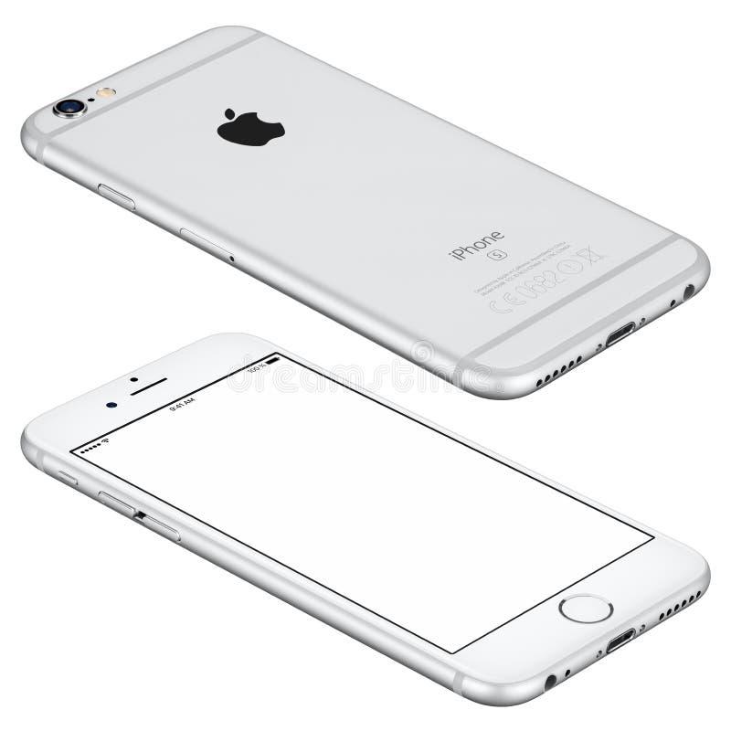 La maquette argentée de l'iPhone 6s d'Apple se trouve sur la surface photo stock