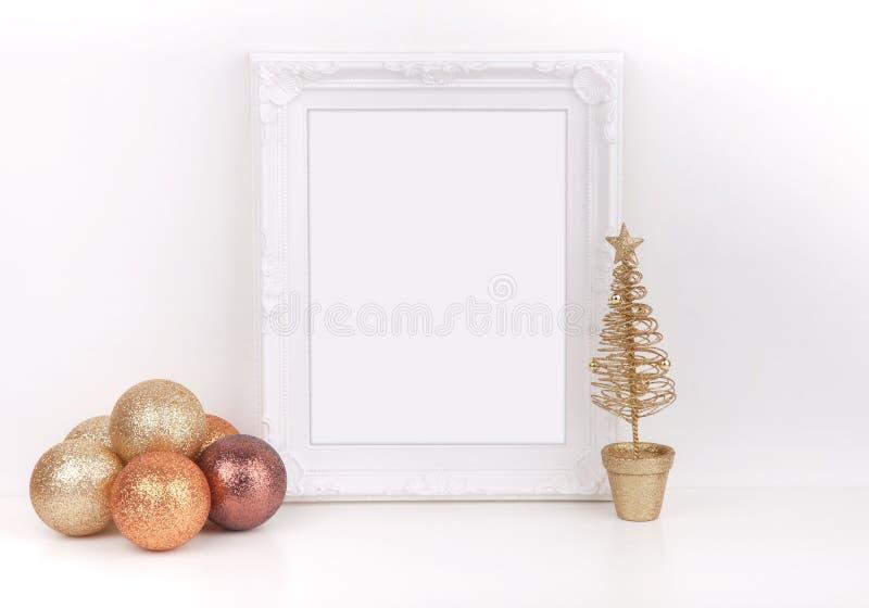 La maquette de Noël a dénommé la photographie courante avec le cadre blanc image stock