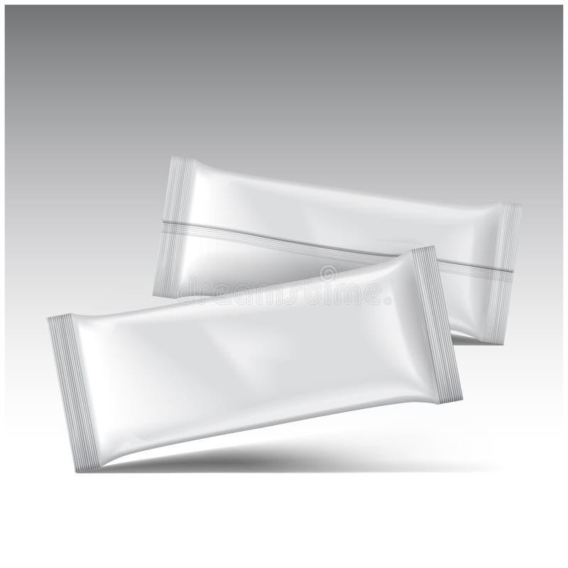 La maquette de paquet de crème glacée, dirigent le paquet vide blanc de casse-croûte de sachet en matière plastique illustration libre de droits