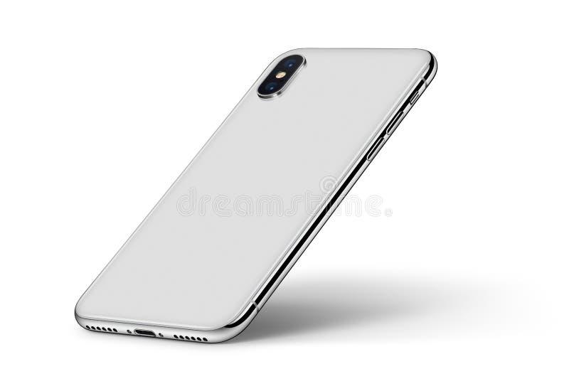 La maquette de smartphone de perspective avec l'onde entretenue d'ombre a tourné sur le fond blanc illustration stock
