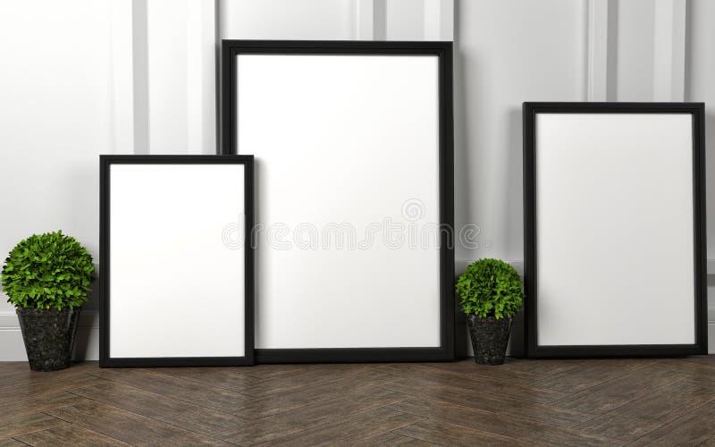 La maquette du blanc trois encadrent l'affiche sur le plancher illustration de vecteur