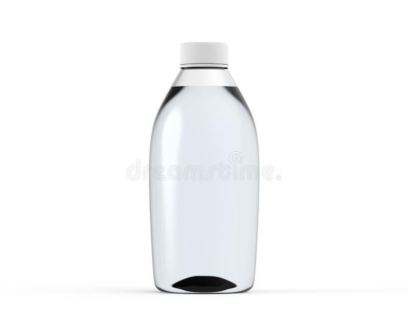 La maquette en verre blanche 3d de bouteille d'eau rendent d'isolement illustration stock
