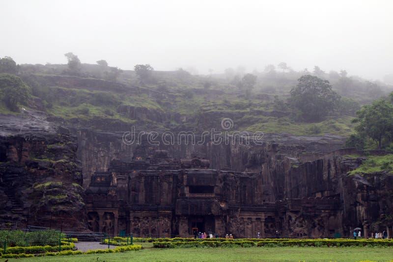 La maravilla de Kailasa de las cuevas de Ellora, el roca-corte t monolítico imágenes de archivo libres de regalías
