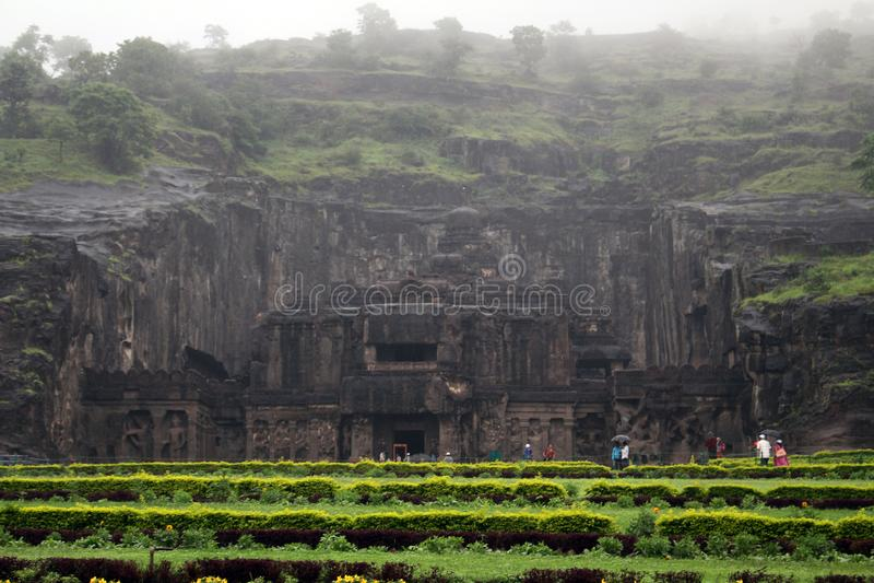 La maravilla de Kailasa de las cuevas de Ellora, el roca-corte t monolítico foto de archivo