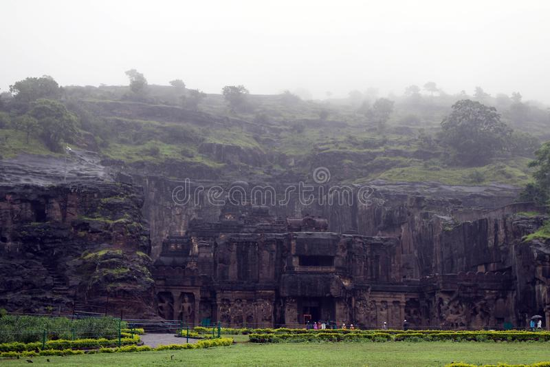 La maravilla de Kailasa de las cuevas de Ellora, el roca-corte t monolítico fotos de archivo libres de regalías