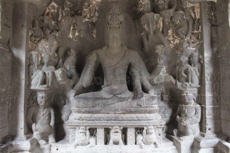 La maravilla de Kailasa de las cuevas de Ellora, el roca-corte t monolítico fotografía de archivo